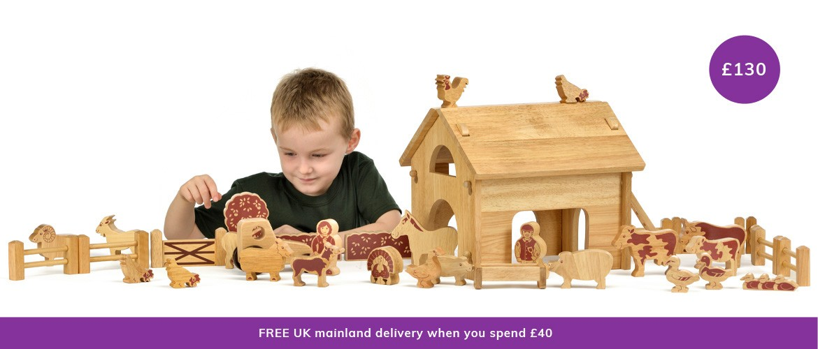 Natural wood farm toys . . .