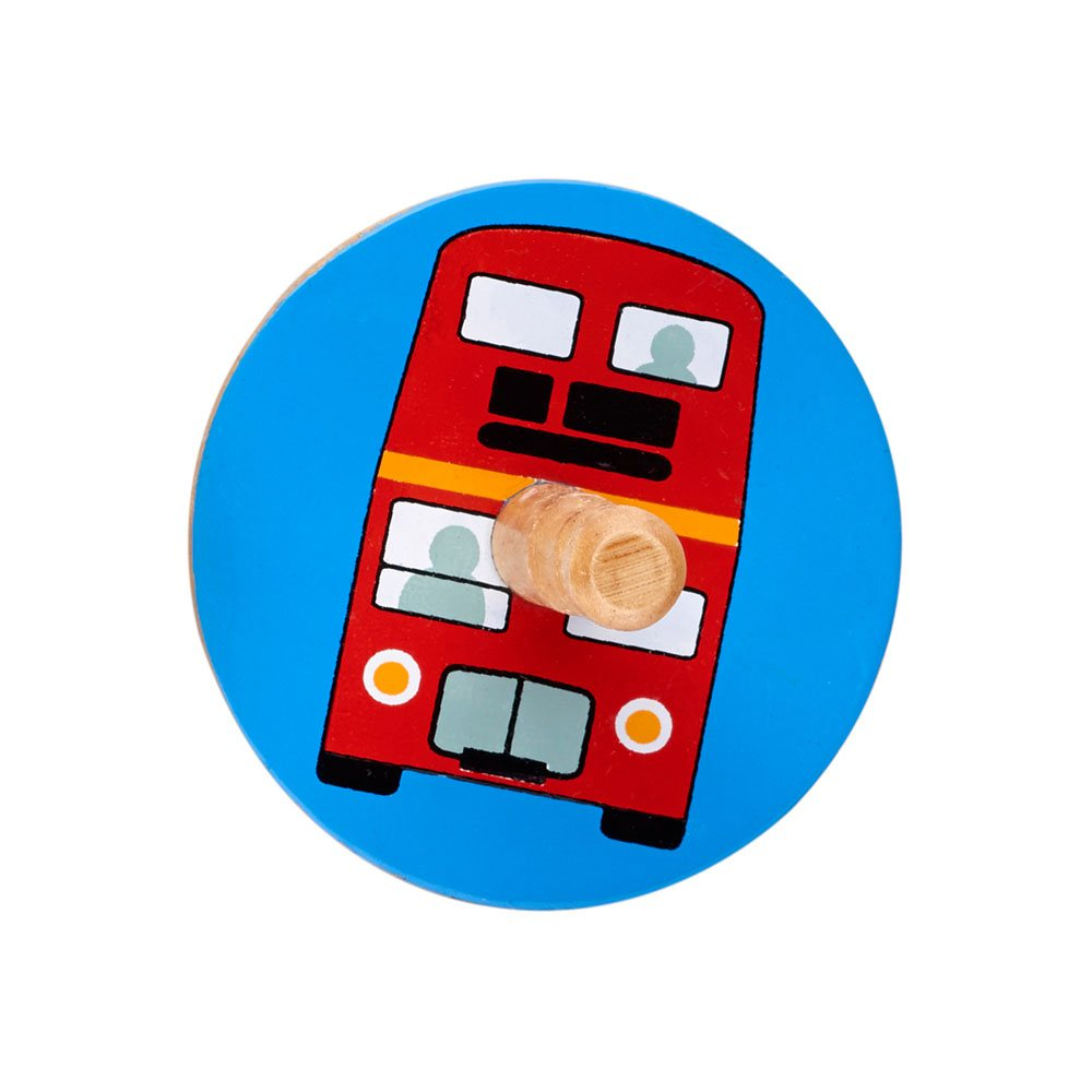 Fair Trade Wooden Bus Spinning Top