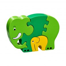 Green elephant & baby jigsaw
