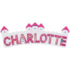 White/pink castle plaque - long