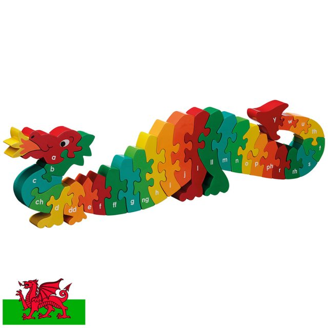 Twenty six piece chunky wooden multicoloured dragon welsh alpahbet jigsaw puzzle in profile