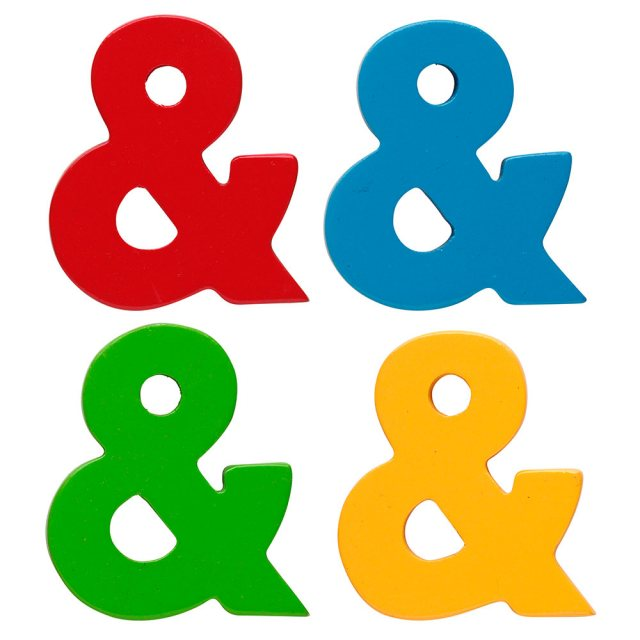 Wooden ampersand character available in plain red, blue, green and yellow