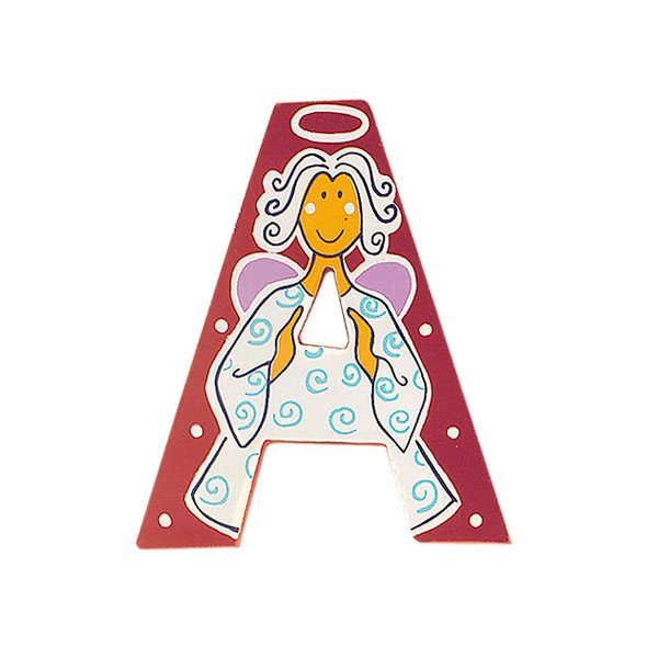 Sparkly pink wooden letter A with colourful Angel design hand screen printed on the front