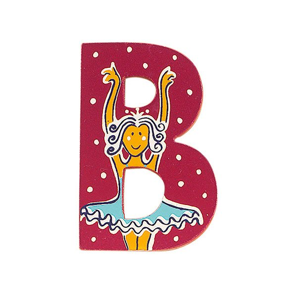 Sparkly pink wooden letter B with colourful Ballerina design hand screen printed on the front