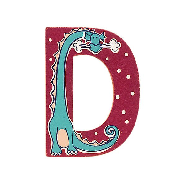 Sparkly pink wooden letter D with colourful dragon design hand screen printed on the front