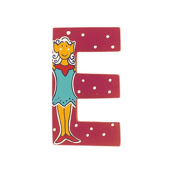 Sparkly pink wooden letter E with colourful Elf design hand screen printed on the front