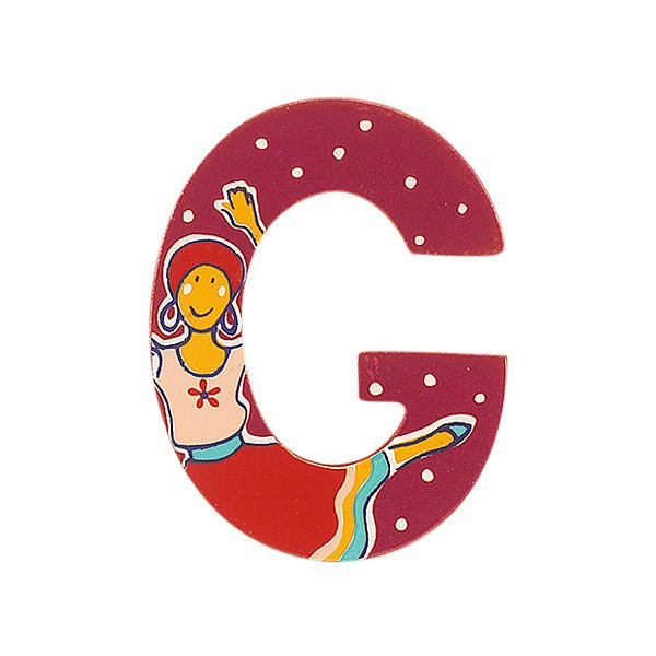 Sparkly pink wooden letter G with colourful Gypsy design hand screen printed on the front