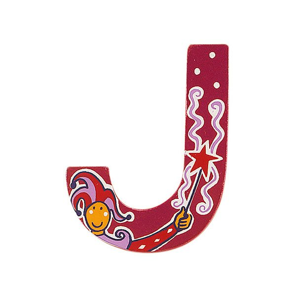 Sparkly pink wooden letter J with colourful Jester design hand screen printed on the front