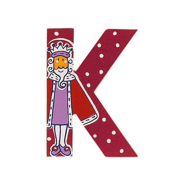Sparkly pink wooden letter K with colourful King design hand screen printed on the front