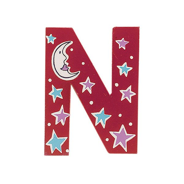 Sparkly pink wooden letter N with colourful Night design hand screen printed on the front