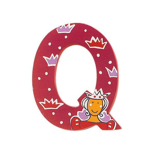 Sparkly pink wooden letter Q with colourful Queen design hand screen printed on the front
