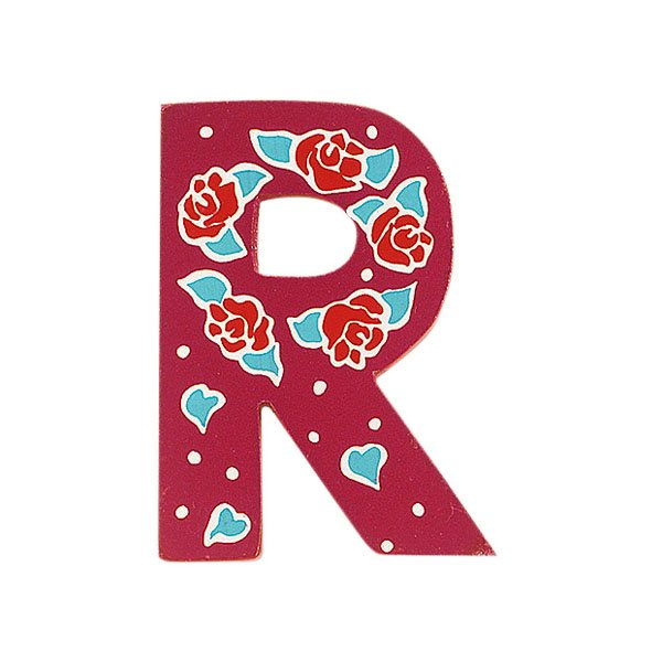 Sparkly pink wooden letter R with colourful Roses design hand screen printed on the front