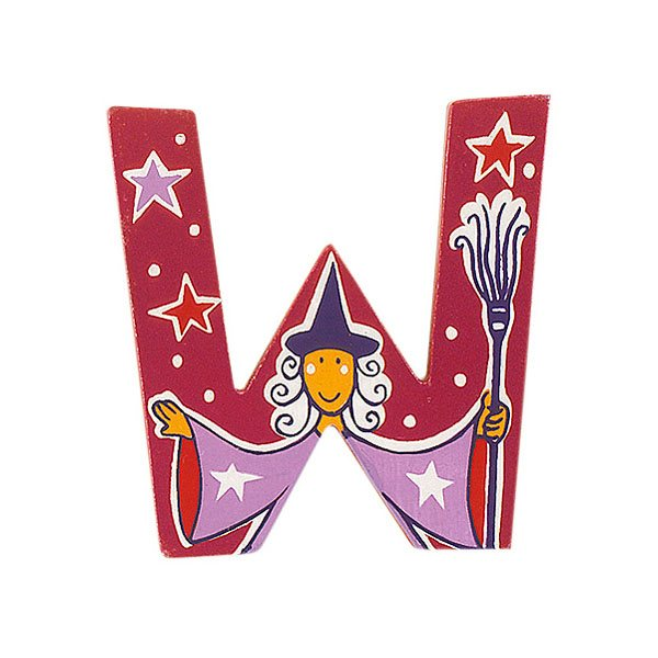 Sparkly pink wooden letter W with colourful Witch design hand screen printed on the front