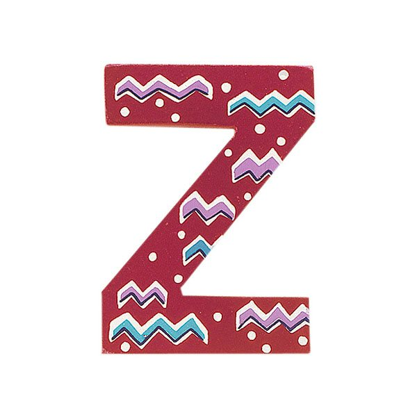Sparkly pink wooden letter Z with colourful Zig Zag design hand screen printed on the front