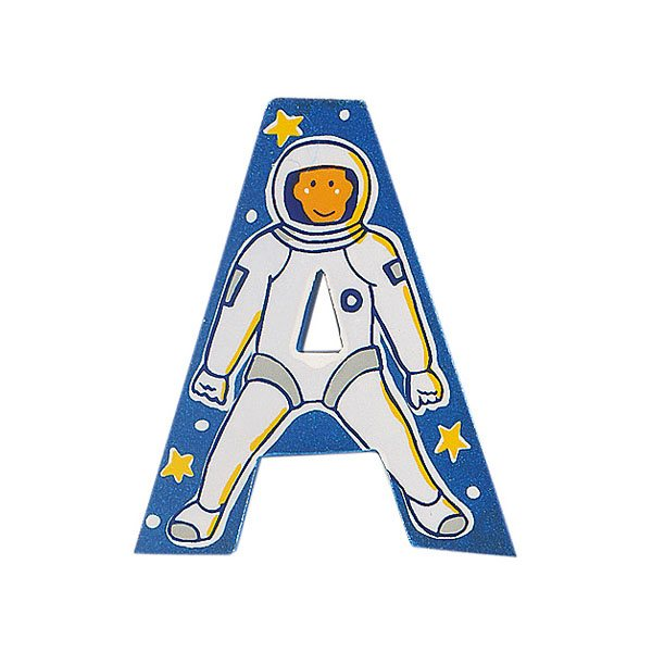 Sparkly blue wooden letter A with colourful Astronaut design hand screen printed on the front
