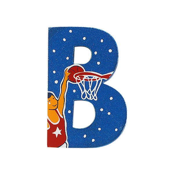 Sparkly blue wooden letter B with colourful Basketball design hand screen printed on the front