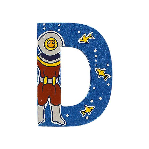 Sparkly blue wooden letter D with colourful Diver design hand screen printed on the front
