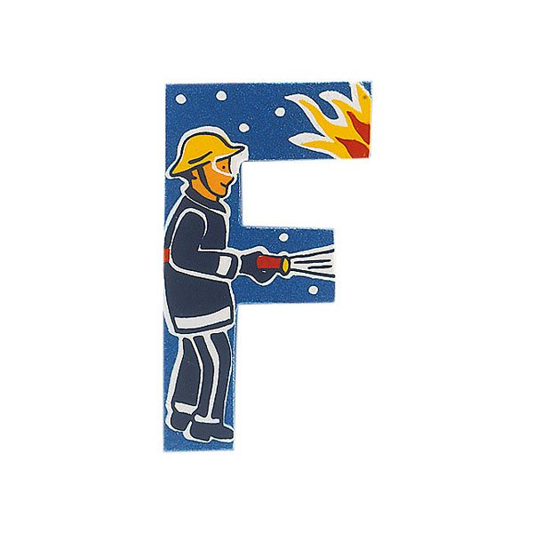 Sparkly blue wooden letter F with colourful Firefighter design hand screen printed on the front
