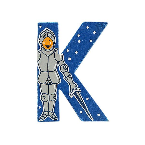 Sparkly blue wooden letter K with colourful Knight design hand screen printed on the front