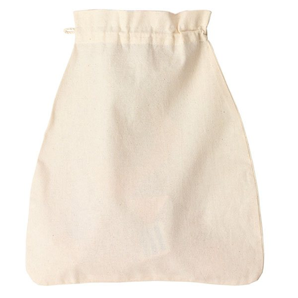 Cream cotton drawstring bag lay flat