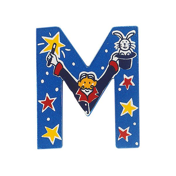 Sparkly blue wooden letter M with colourful Magician design hand screen printed on the front