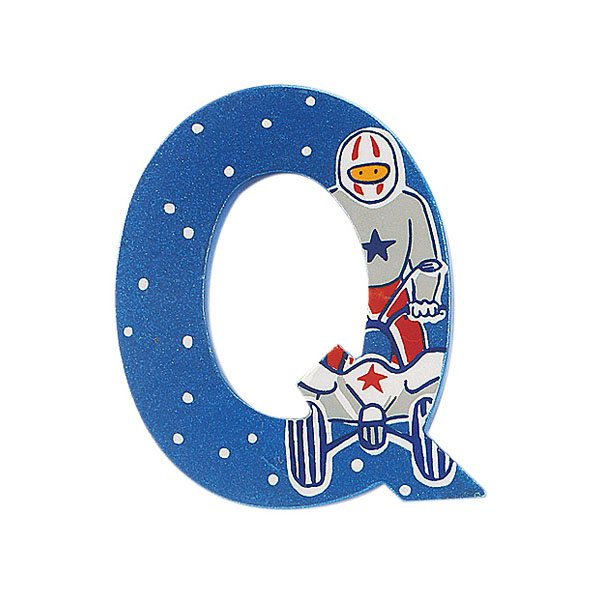 Sparkly blue wooden letter Q with colourful Quad bike design hand screen printed on the front