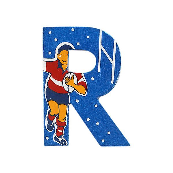 Sparkly blue wooden letter R with colourful Rugby player design hand screen printed on the front