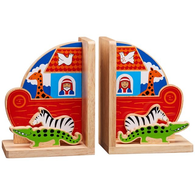 Set of red Noah's ark bookends with crocodile, zebra, giraffe, dove and Noah on each end