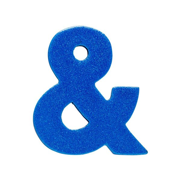 Sparkly blue wooden ampersand character