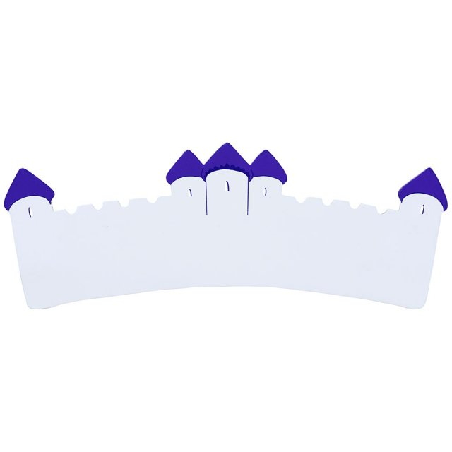 A long, flat wooden name board plaque in white castle design with purple turrets