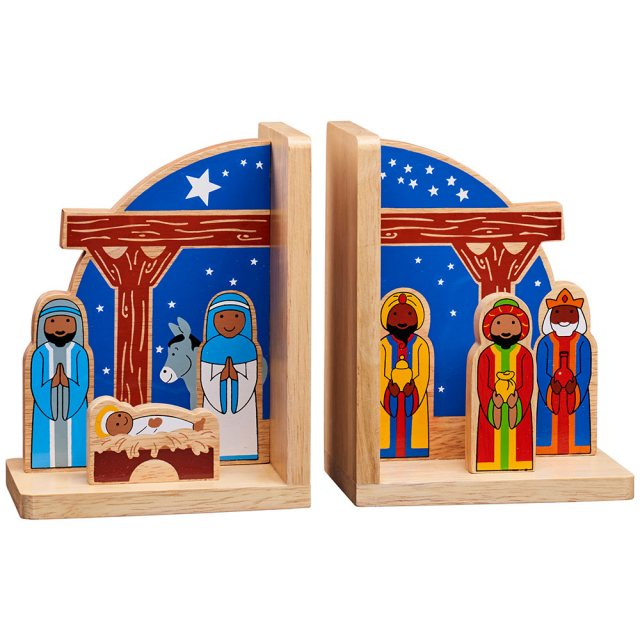 Set of multicoloured nativity bookends with Mary, Joseph, Jesus and three kings on either end