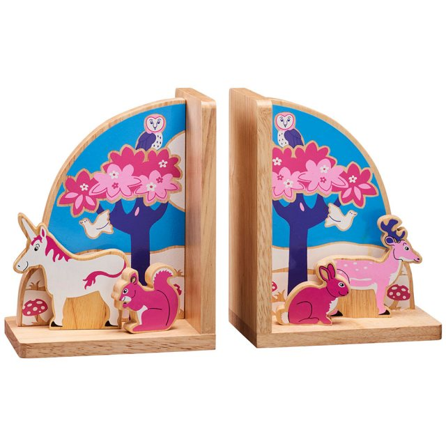 Set of multicoloured enchanted bookends with unicorn, bunny, deer, squirrel and forest on each end