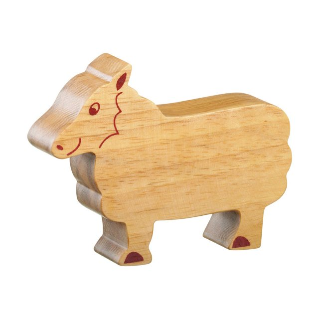 A chunky wooden sheep toy figure in profile, plain with wood grain