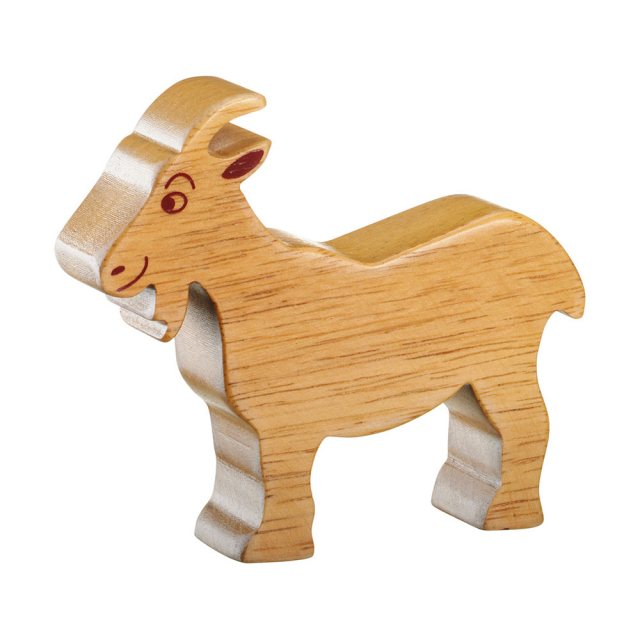 A chunky wooden goat toy figure in profile, plain with wood grain