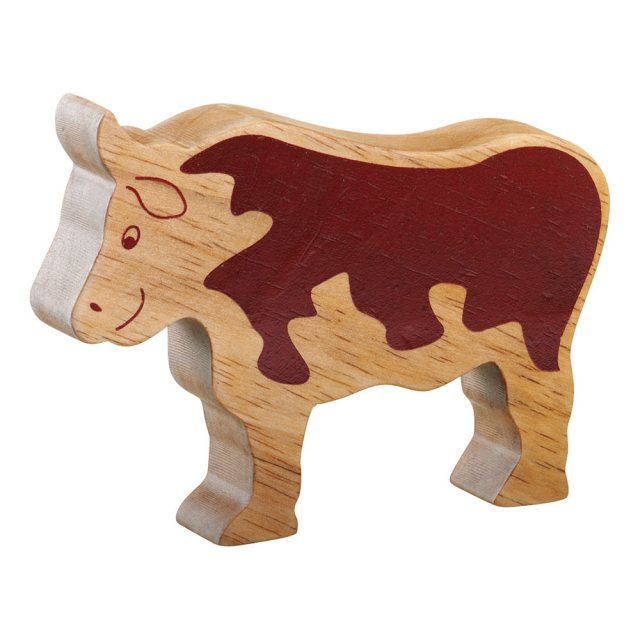 A chunky wooden bull toy figure in profile, plain with wood grain