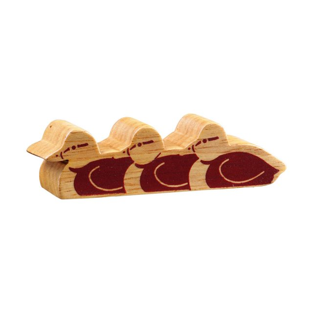Chunky wooden ducklings, a toy figure in profile, plain with wood grain