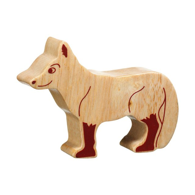 A chunky wooden fox toy figure in profile, plain with wood grain