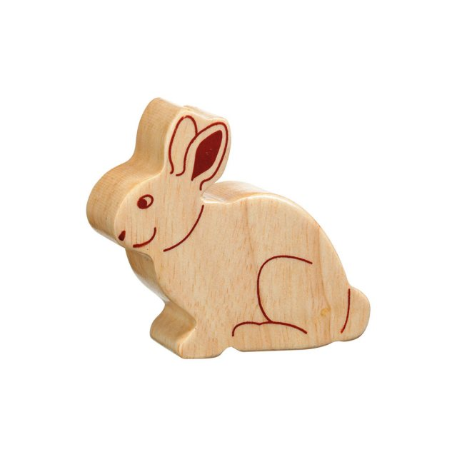 A chunky wooden rabbit toy figure in profile, plain with wood grain