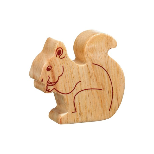 A chunky wooden squirrel toy figure in profile, plain with wood grain