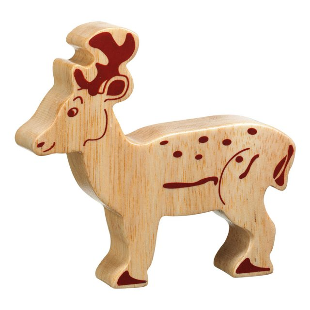 A chunky wooden deer toy figure in profile, plain with wood grain