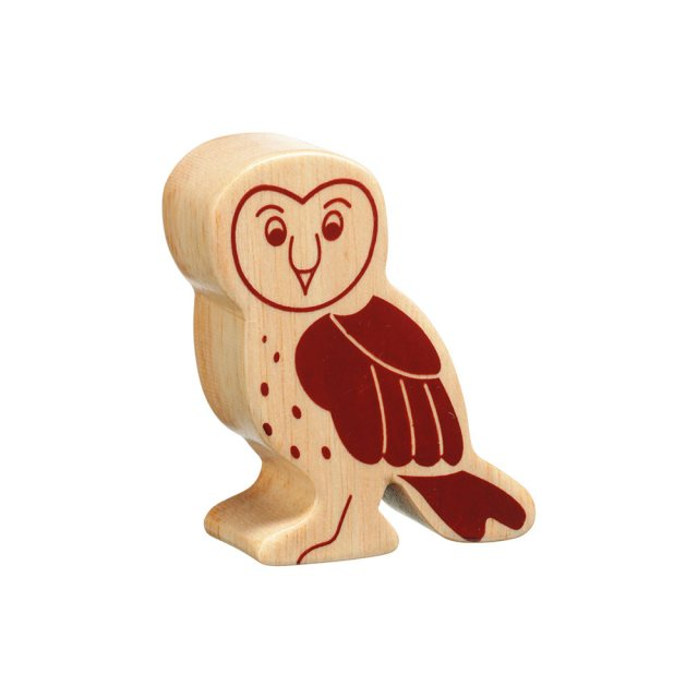 A chunky wooden owl toy figure in profile, plain with wood grain