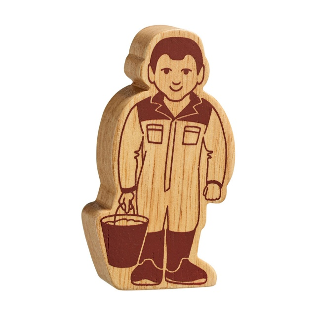 Chunky wooden farm worker toy figure carrying a bucket, plain with wood grain and brown details