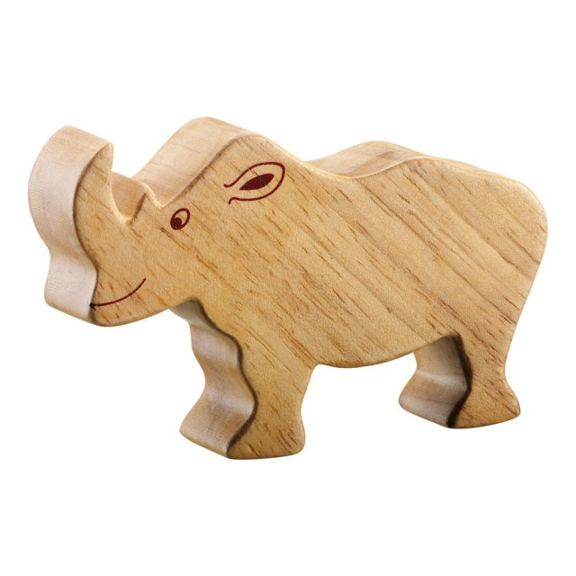 A chunky wooden rhino toy figure in profile, plain with wood grain
