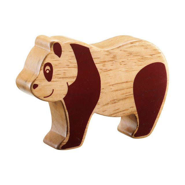 A chunky wooden panda toy figure in profile, plain with wood grain