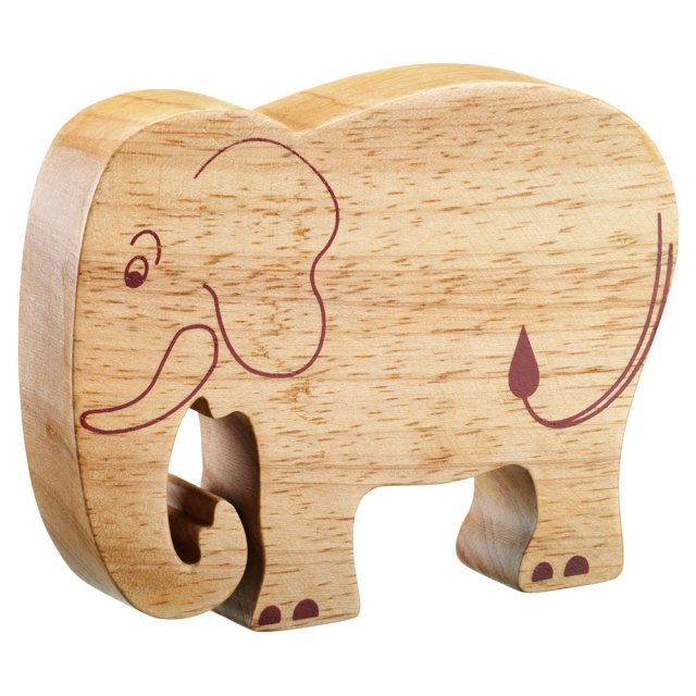 A chunky wooden elephant toy figure in profile, plain with wood grain