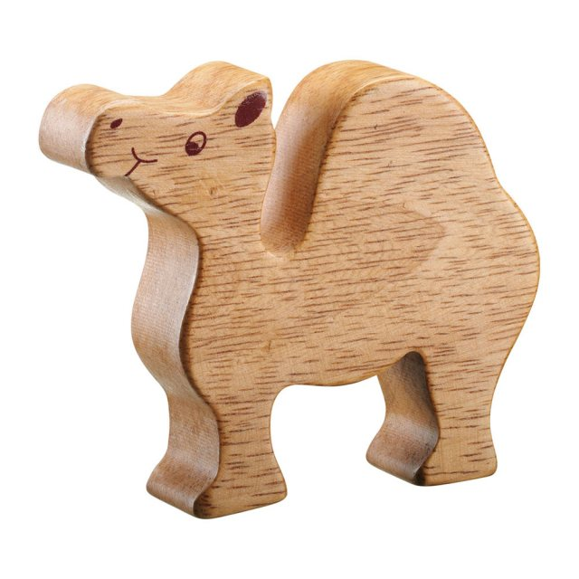 A chunky wooden camel toy figure in profile, plain with wood grain