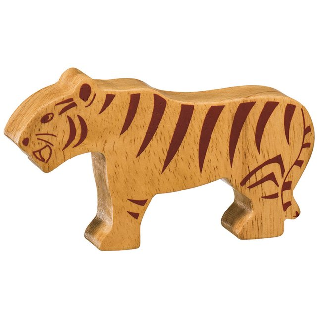 A chunky wooden stripey tiger toy figure in profile, plain with wood grain