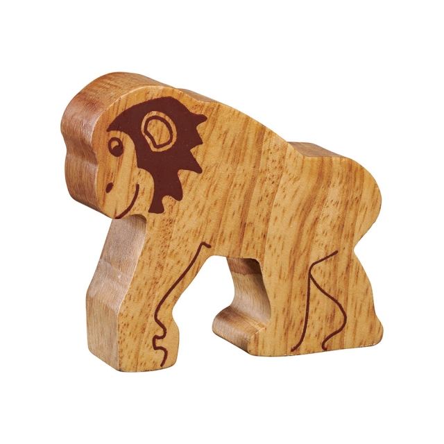 A chunky wooden chimpanzee toy figure in profile, plain with wood grain