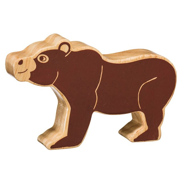 A chunky wooden brown bear toy figure in profile, plain brown with wood grain