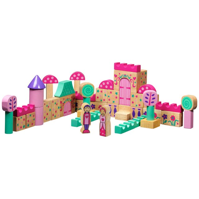 Set of 50 multicoloured wooden building blocks and characters depicting a fairy tale castle